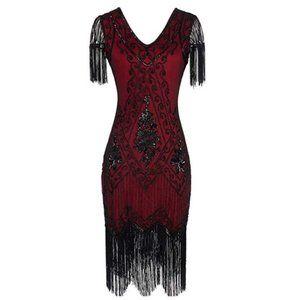 1920s Fringed Sequin Dress Gatsby Costume Dress